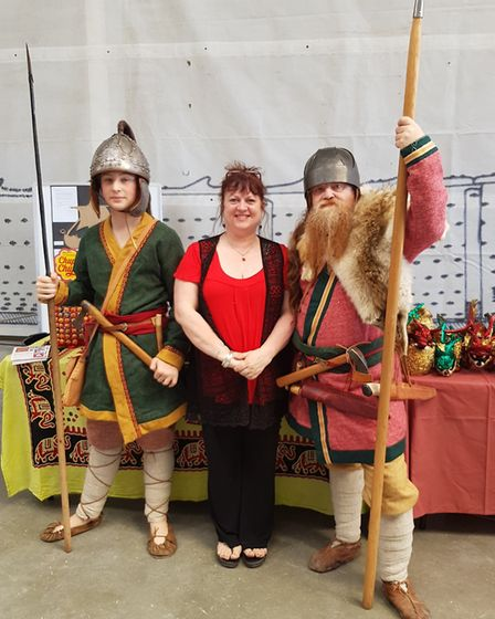 Jules Button from the Woodbridge Emporium escorted by Saxon soldiers. Picture: J BUTTON