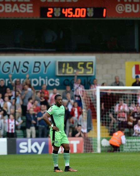 Ryan Jackson tries to process the last minute defeat at Lincoln City, in the U's penultimate away ga