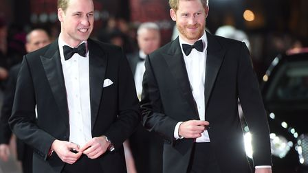 The Duke of Cambridge and Prince Harry attending the European premiere of Star Wars: The Last Jedi,