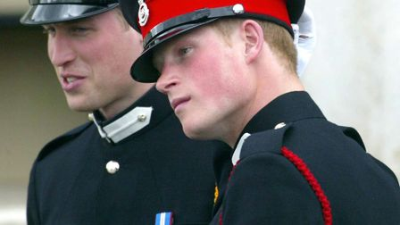 Prince William and Prince Harry at Sandhurst Royal Military Academy. Picture: PA WIRE