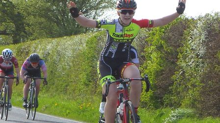Velo Schils junior Isabel Darvill takes the win in the Essex Roads CC Women's Road Race. Picture: FE