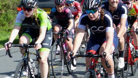 The Essex Roads CC Women's Road Race field at Butts Green with Ipswich rider Gemma Melton (left) and