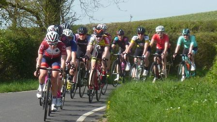 The Essex Roads CC Women's Road Race field on Pan Lane with two laps to go. Picture: FERGUS MUIR