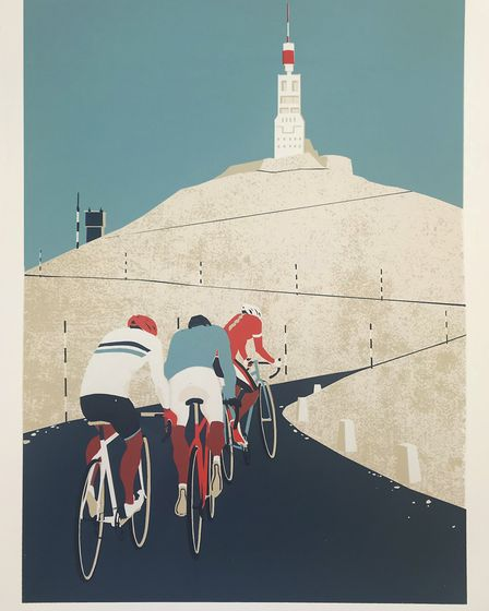 Eliza Southwood Cyclists. Art For Cure exhibition at Glemham Hall. Photo: Art For Cure