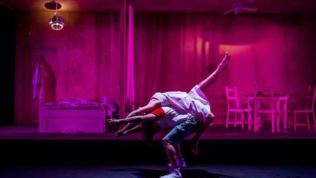Joe Manjón & Kelly Gough in A Streetcar Named Desire at the New Wolsey Theatre, Ipswich. Photo Cre