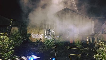 The fire is thought to have broken out on the south side of the site. Picture: SUFFOLK FIRE AND RESC