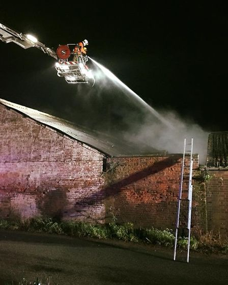 Firefighters described the blaze as challenging. Picture: SUFFOLK FIRE AND RESCUE