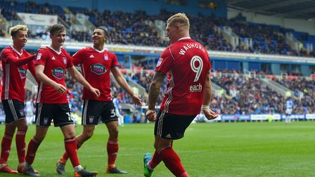 Martyn Waghorn celebrates opening the scoring at Reading dancing a jig Picture Pagepix