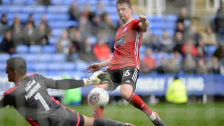 Callum Connolly cscores his goal at Reading Picture Pagepix