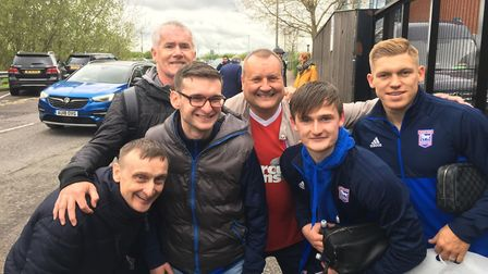 Happy fans and happy players at Reading. Town fans (L to R: Mark Snow, Lewis Snow, Don Welsh and Chr