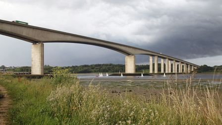 Traffic was back on the Orwell Bridge after the overnight closure. Picture: MICK WEBB