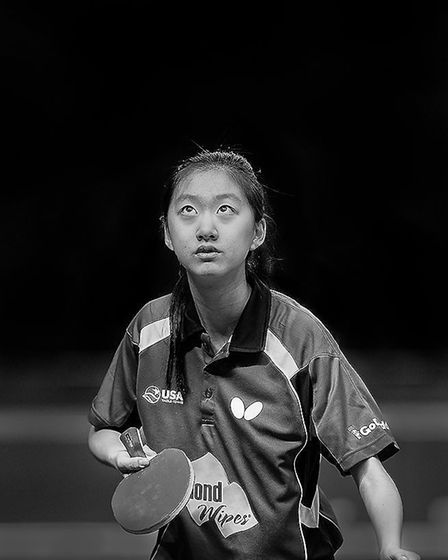 USA's Amy Wang doing a High Toss Pendulum Serve, by Roger Hance, part of the East Anglian Federation