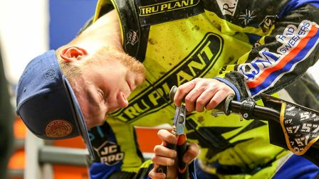 Connor Mountain working on his machine during the Ipswich v Newcastle meeting. Picture: Steve Wal