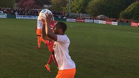 Braintree Town left-back Rickey Gabriel prepares to take a throw-in during the National League South