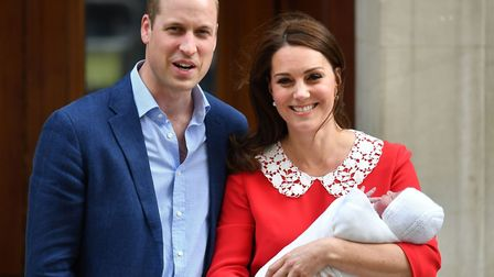 The Duke and Duchess of Cambridge leaving St Mary's Hospital, London, with Prince Louis. Picture: JO
