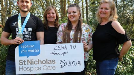 (Left to right) Zena'�s nephew Byron Gross who helped tip the team over their fundraising target alo