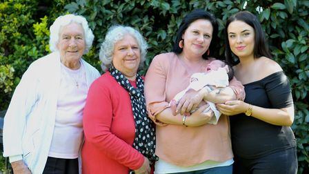 The Abbott family from Ipswich are celebrating five generation of girls. L-R Marjorie Marsh (86),