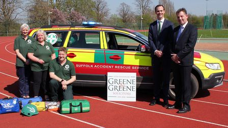 Left to right: Ann Morley, SARS volunteer, Sue Roots - fundraising officer for SARS, Tim Daniels SAR