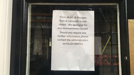 The sign on the door at Bourgee in the Traverse, Bury St Edmunds. Picture: MICHAEL STEWARD