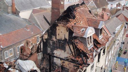 The destruction at Cupola House in The Traverse, Bury St Edmunds, caused by fire. Picture taken on 1