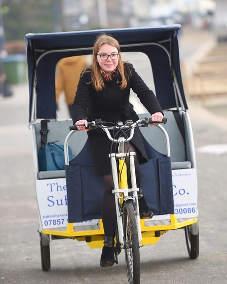 Reporter Katy Sandalls tries out one of the rickshaws. Picture: GREGG BROWN