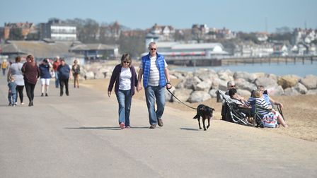 People enjoying the sunny weather in Felixstowe. Picture: SARAH LUCY BROWN