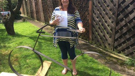Trudi Edmunds who is creating the bicycle sculpture as the Trailblazer for the World War 1 trail