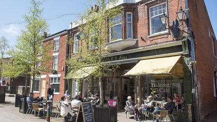 The Hideout Cafe in Halesworth Thoroughfare during the filming. Picture: NICK BUTCHER