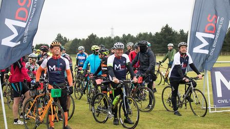 Cyclists line up to start the ride at East Colne airfield. Picture: GEORGE WEBSTER/EHAAT