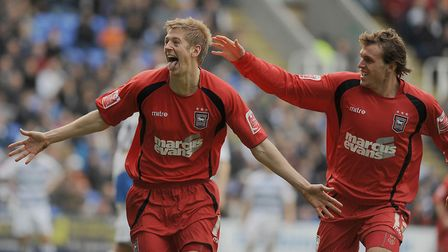 Lapping it up - Jon Stead celebrates his goal at Reading in the 1-0 win in March 2009. Picture: WARR