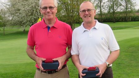 Suffolk Senior Foursomes champions. From left: Ron Spore and Paul Buckle from Stowmarket who won on
