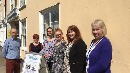 Staff and tutors outside the new Stowmarket Learning Centre, from left to right, Andrew Casey, Laura
