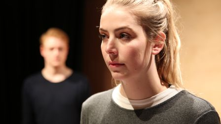 Ricky Oakley, Isabel Della-Porta in rehearsals for Jo Carrick's new play Put Out The Lights. Photo: