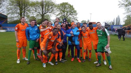 Braintree players celebrate at the end of the game with the play-offs now ahead. Photo: JON WEAVER