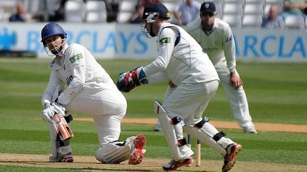 James Foster, in bat, took a catch against Hants today. Photo: PA