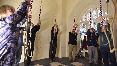 The restored bells at St Margaret's Church in Ipswich being rung for the first time. Picture: GREGG