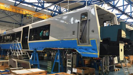 The first train to be built by Stadler for Greater Anglia takes shape at its factory in Switzerland.