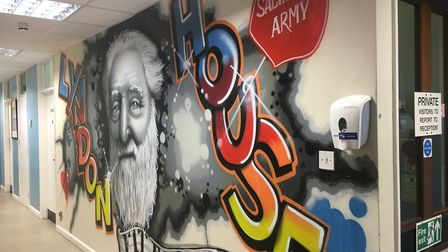 A mural in Lyndon House depicting William Booth, who founded The Salvation Army alongside his wife C