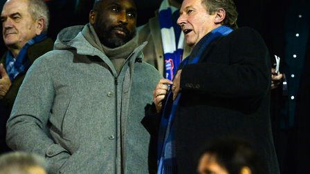 Ipswich Town managing director Ian Milne speaking to Sol Campbell at Fulham earlier this season. Pho