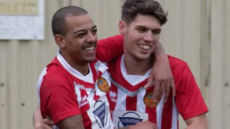 Luke Read, right, on target at Wivenhoe. Here pictured with Anton Clarke. Photo: PAUL VOLLER