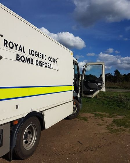 A bomb disposal unit was dispatched to the scene. Picture: SUFFOLK CONSTABULARY