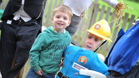 Max with his fireman themed scarecrow. Picture: SARAH LUCY BROWN
