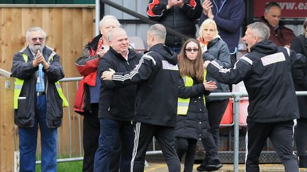 Seasiders Director of Football, Tony Barnes, celebrates promotion with Joint Managers Kevin O'Donnel