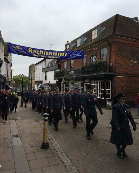 The RAF anniversary freedom parade in Bury St Edmunds