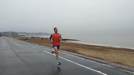 Danny Rock, of Felixstowe Road Runners, on his way to a course record at the Felixstowe parkrun. Pic