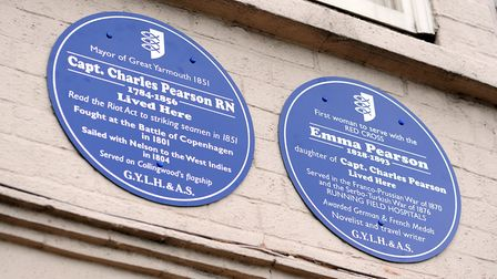 Ablue plaque being unveiled at No 8 South Quay in Great Yarmouth to Emma Pearson and Captain Charles