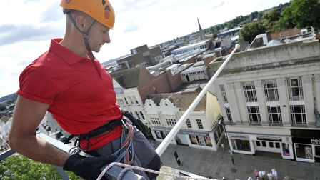 Adrian Allsop, of Creation Climbing Centre, gets the rig ready for the East Anglia Childrens Hospic