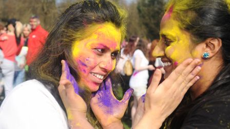 Holi festival in Holywells park, Ipswich, Prajakta and Veena. Picture: CONTRIBUTED