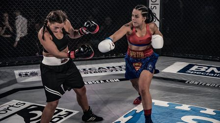 Stevi-Ann Levy, right, dominated Emma Taylor en route to a first round stoppage win and third defenc