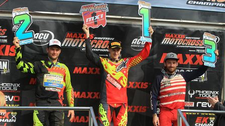 The podium in the MX1 Class at Canada Heights recently, Evgeny Bobryshev, runner-up, Jake Nicholls,